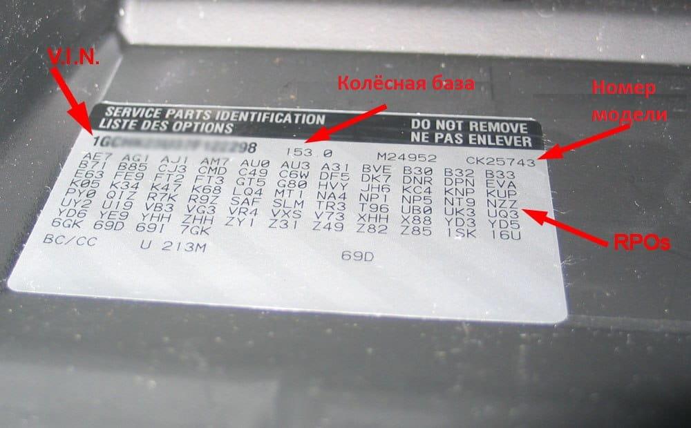 Коды RPO для GM