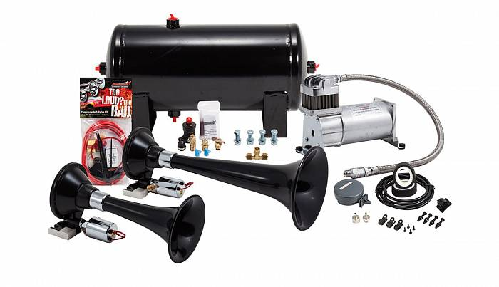 Black Dual Train Horn Kit